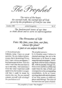 The Prophet No. 6 – Pirouettes of Life – Fate – My fate, your fate, our fate, whose life plan? A just or an unjust God?