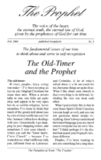 The Prophet No. 9 – The Old-Timer and the Prophet
